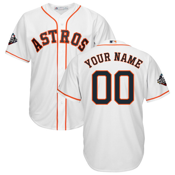 Men's Houston Astros ACTIVE PLAYER Majestic White 2019 World Series Bound Official Cool Base Custom Stitched Jersey