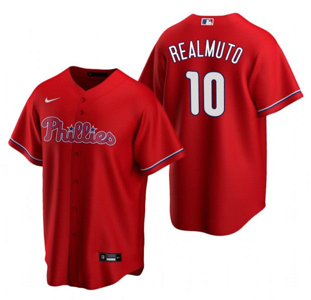 Men's Philadelphia Phillies #10 J.T. Realmuto Red Cool Base Stitched MLB Jersey