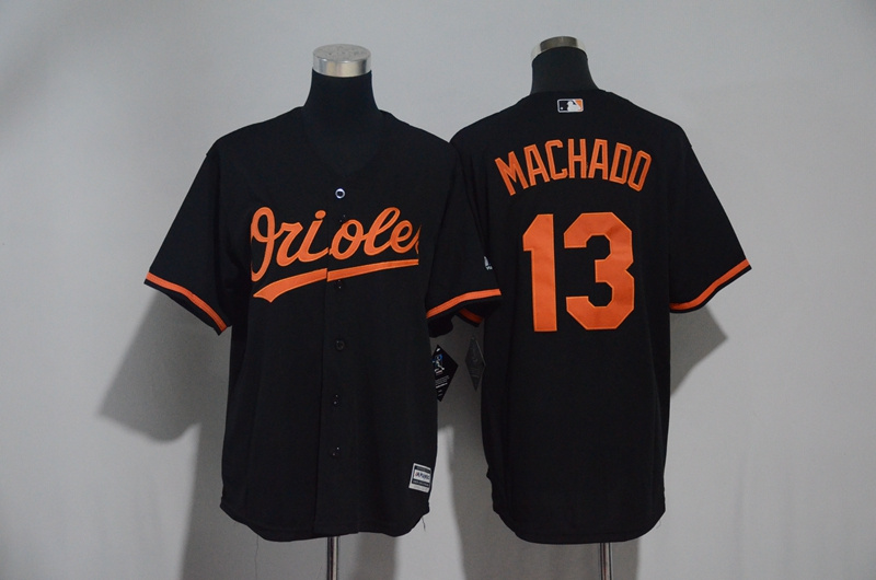 Men's Baltimore Orioles #13 Manny Machado Black Cool Base Stitched MLB Jersey