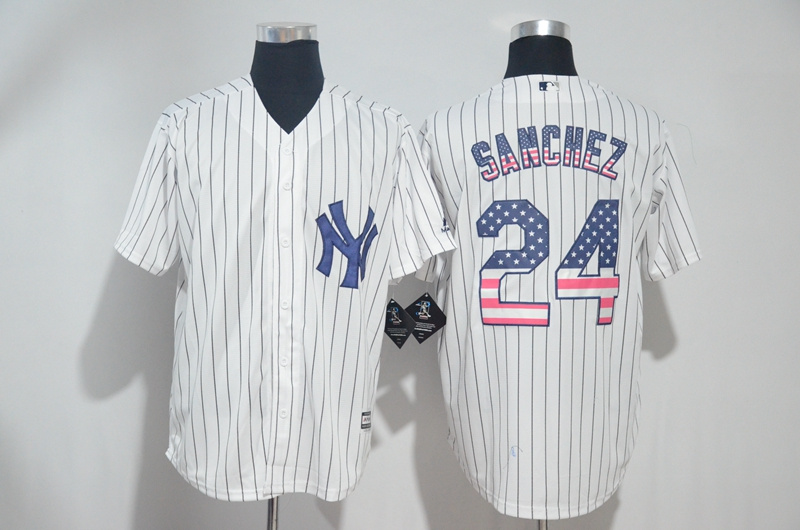 Men's New York Yankees #24 Gary Sanchez White US Flag New Cool Base Stitched MLB Jersey
