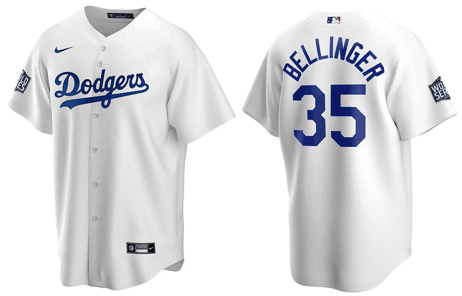 Men's Los Angeles Dodgers #35 Cody Bellinger White 2020 World Series Bound stitched MLB Jersey