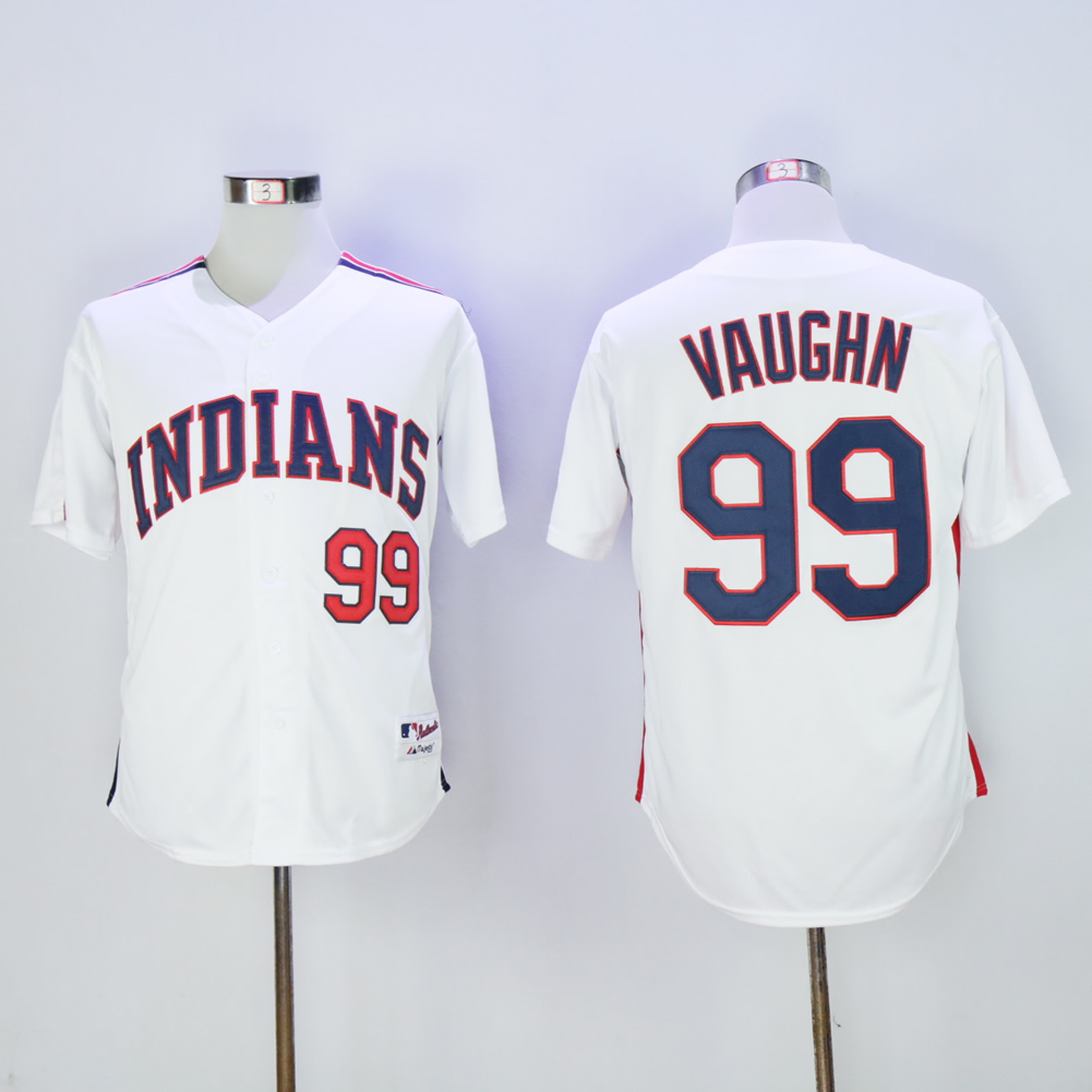 Men's Indians #99 Rick Wild Thing Vaughn Stitched White MLB Jersey