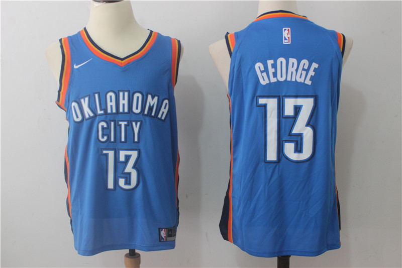 Men's Nike Oklahoma City Thunder #13 Paul George Blue Stitched NBA Jersey