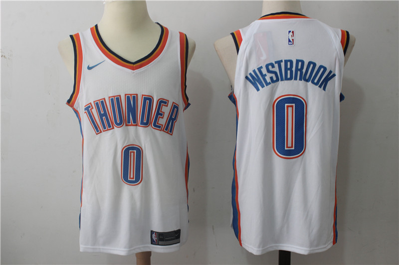 Men's Nike Oklahoma City Thunder #0 Russell Westbrook White Stitched NBA Jersey