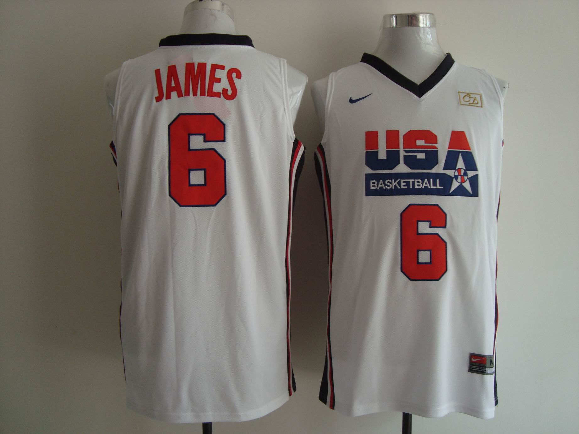 Men's Nike USA 1992 Dream Team #6 LeBron James Authentic White Stitched NBA Jersey