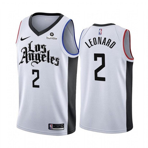 Men's Los Angeles Clippers #2 Kawhi Leonard White 2019 City Edition Stitched NBA Jersey