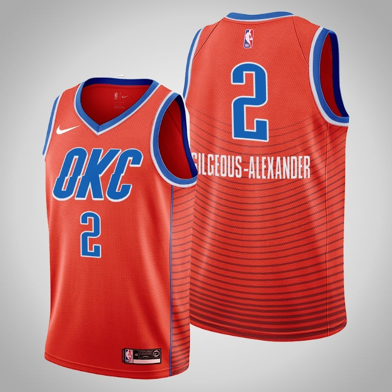 Men's Oklahoma City Thunder Orange #2 Shai Gilgeous-Alexander Stitched NBA Jersey