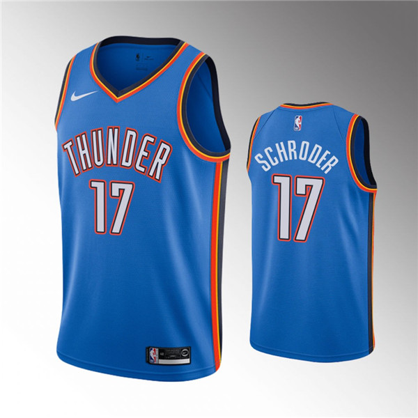 Men's Oklahoma City Thunder Blue #17 Dennis Schroder Stitched NBA Jersey
