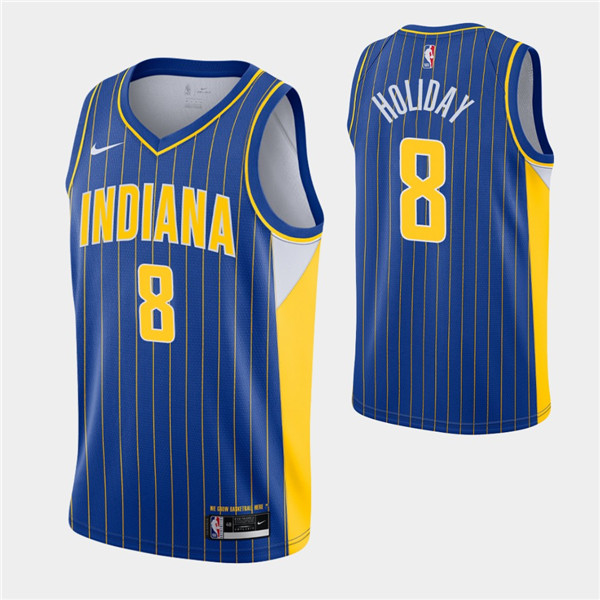 Men's Indiana Pacers #8 Justin Holiday Royal City Swingman 2020-21 Stitched NBA Jersey