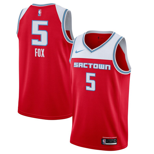 Men's Sacramento Kings #5 De'Aaron Fox Red 2019 City Edition Swingman Stitched NBA Jersey