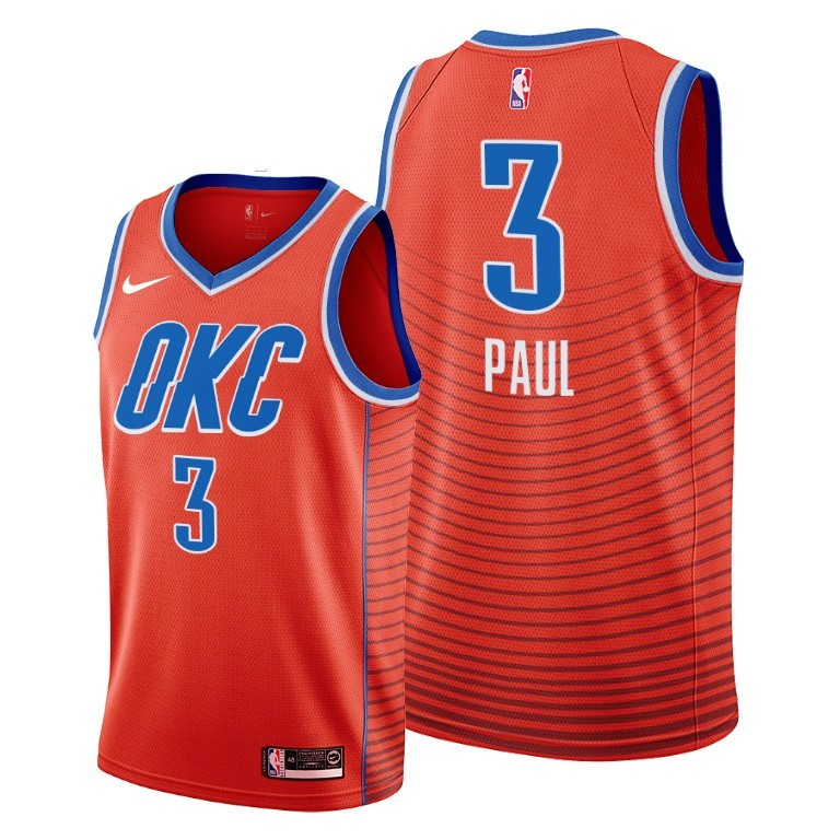 Men's Oklahoma City Thunder Orange #3 Chris Paul Stitched NBA Jersey