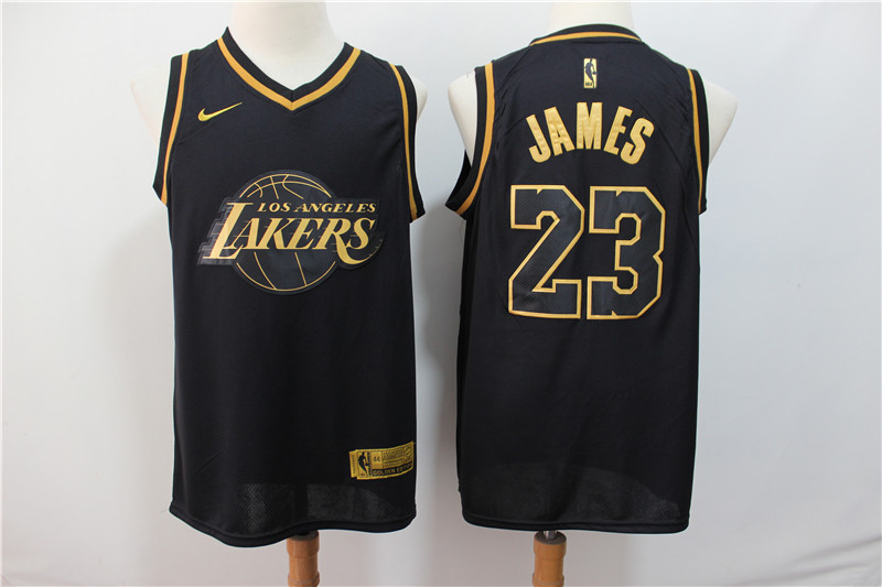 Men's Los Angeles Lakers #23 Lebron James Black Gold Stitched NBA Jersey