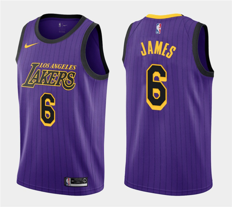 Men's Nike Los Angeles Lakers #6 LeBron James Purple Stitched NBA Jersey