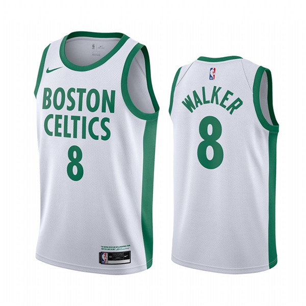 Men's Boston Celtics #8 Kemba Walker White 2020-21 City Edition Swingman Stitched NBA Jersey