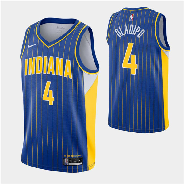 Men's Indiana Pacers #4 Victor Oladipo Royal City Swingman 2020-21 Stitched NBA Jersey