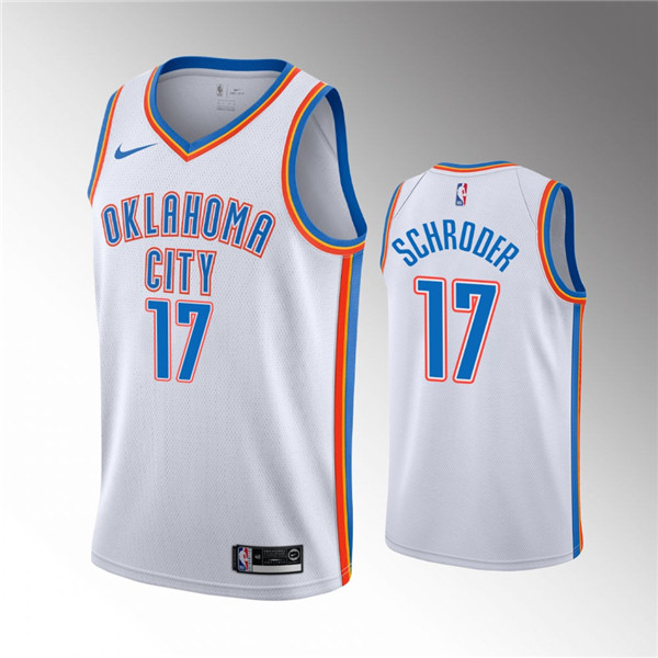 Men's Oklahoma City Thunder White #17 Dennis Schroder Stitched NBA Jersey