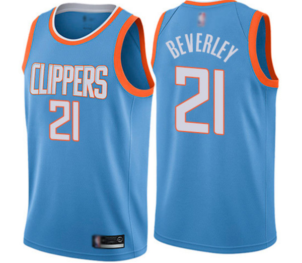 Men's Los Angeles Clippers #21 Patrick Beverley Blue City Edition Stitched NBA Jersey