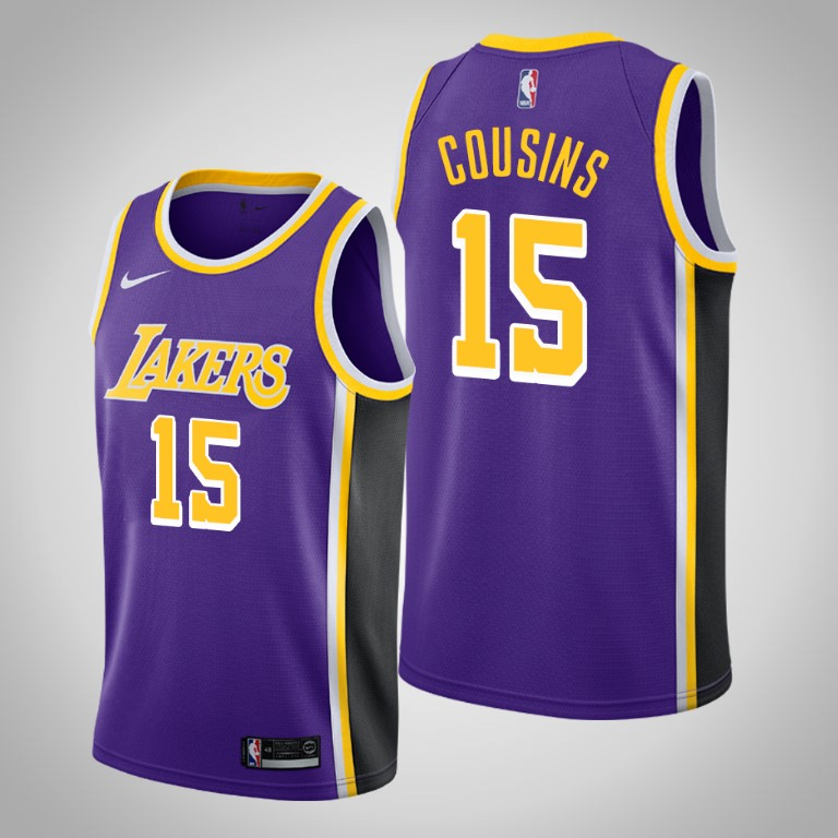 Men's Los Angeles Lakers #15 DeMarcus Cousins Purple Stitched NBA Jersey