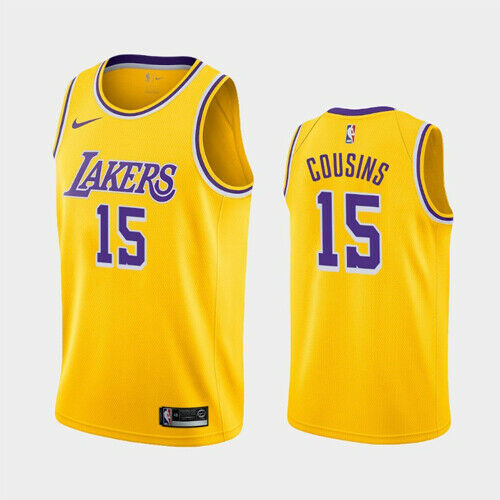 Men's Los Angeles Lakers #15 DeMarcus Cousins Yellow Stitched NBA Jersey