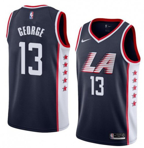 Men's Los Angeles Clippers #13 Paul George Black Stitched NBA Jersey