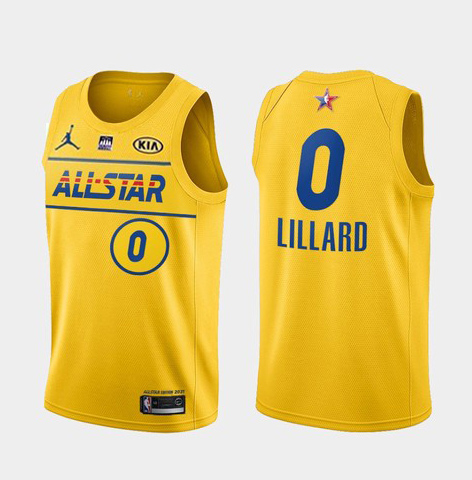 Men's 2021 All-Star #0 Damian Lillard Yellow Western Conference Stitched NBA Jersey