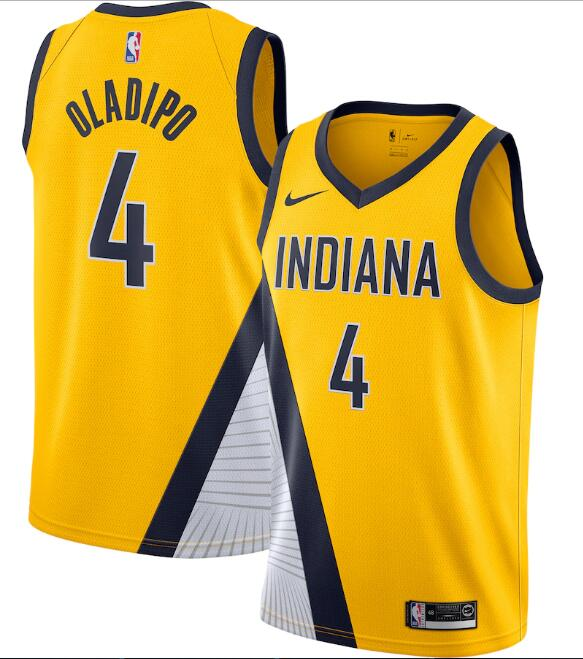 Men's Indiana Pacers Yellow #4 Victor Oladipo Statement Edition Swingman Stitched NBA Jersey