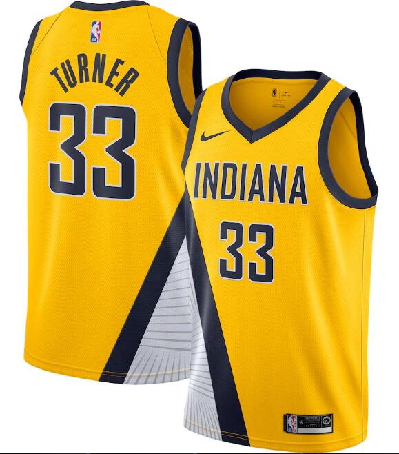 Men's Indiana Pacers Yellow #33 Myles Turner Statement Edition Swingman Stitched NBA Jersey