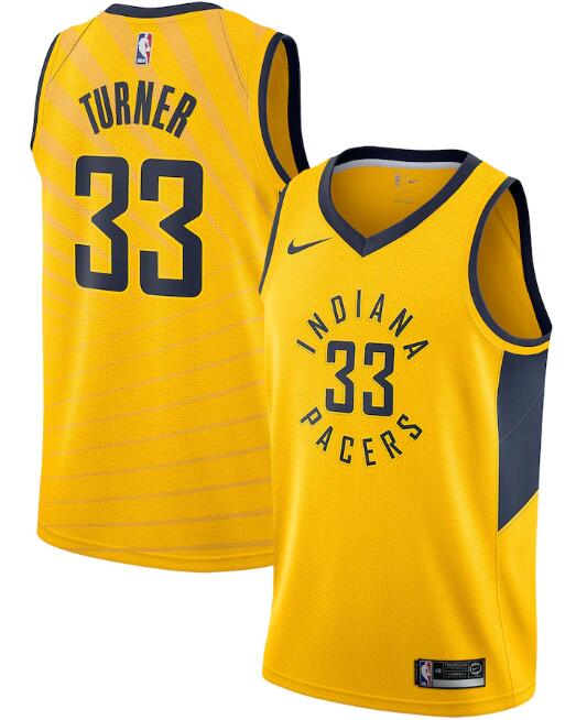 Men's Indiana Pacers Yellow #33 Myles Turner Statement Edition Swingman NBA Stitched Jersey