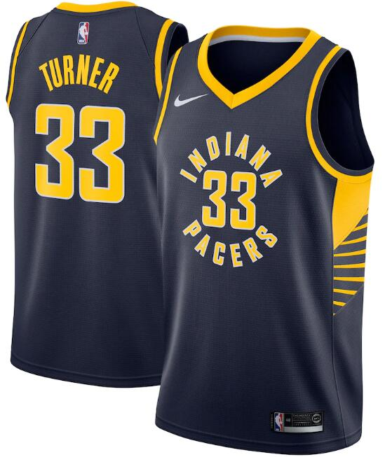 Men's Indiana Pacers Navy #33 Myles Turner Icon Edition Swingman Stitched NBA Jersey