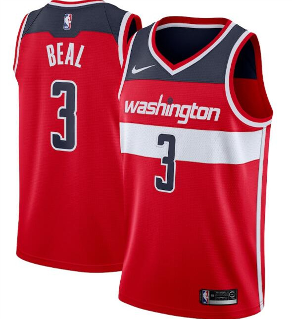 Men's Washington Wizards Red #3 Bradley Beal Icon Edition Swingman Stitched NBA Jersey