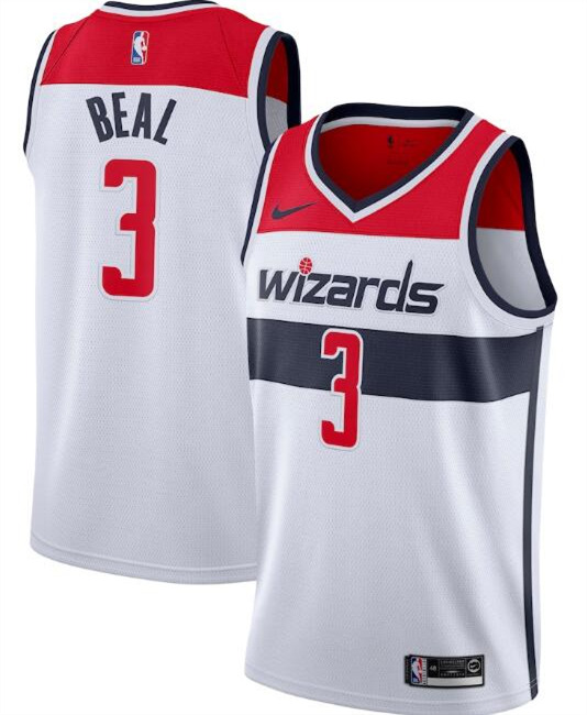 Men's Washington Wizards White #3 Bradley Beal Association Edition Stitched NBA Jersey
