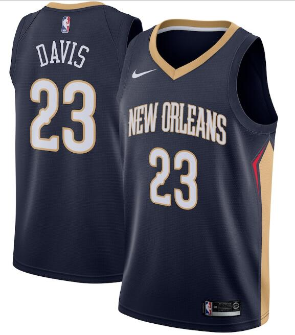 Men's New Orleans Pelicans Navy #23 Anthony Davis Icon Edition Stitched NBA Jersey