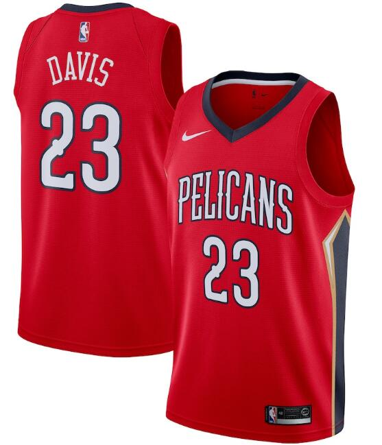 Men's New Orleans Pelicans Red #23 Anthony Davis Statement Edition Stitched NBA Jersey
