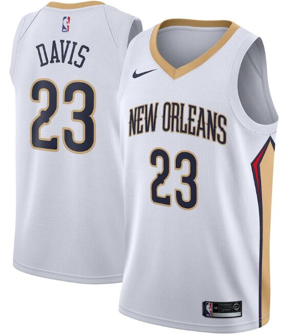 Men's New Orleans Pelicans White #23 Anthony Davis Association Edition Stitched NBA Jersey