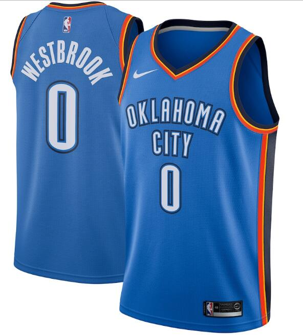 Men's Oklahoma City Thunder Blue #0 Russell Westbrook Icon Edition Stitched NBA Jersey