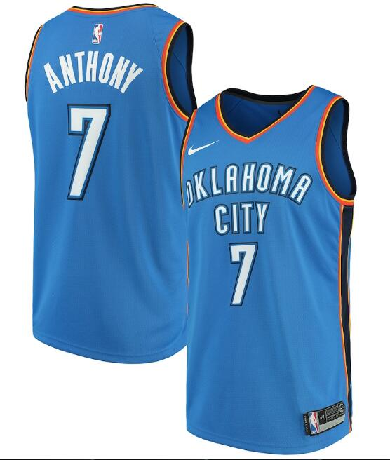 Men's Oklahoma City Thunder Blue #7 Carmelo Anthony Icon Edition Stitched NBA Jersey