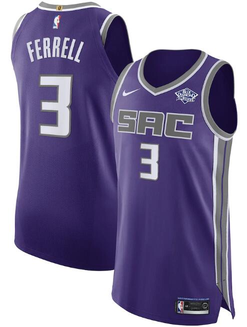 Men's Sacramento Kings Purple #3 Yogi Ferrel Icon Edition Stitched NBA Jersey