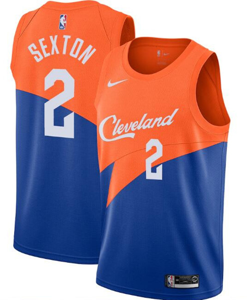 Men's Cleveland Cavaliers Orange &Blue #2 Collin Sexton City Edition Stitched NBA Jersey