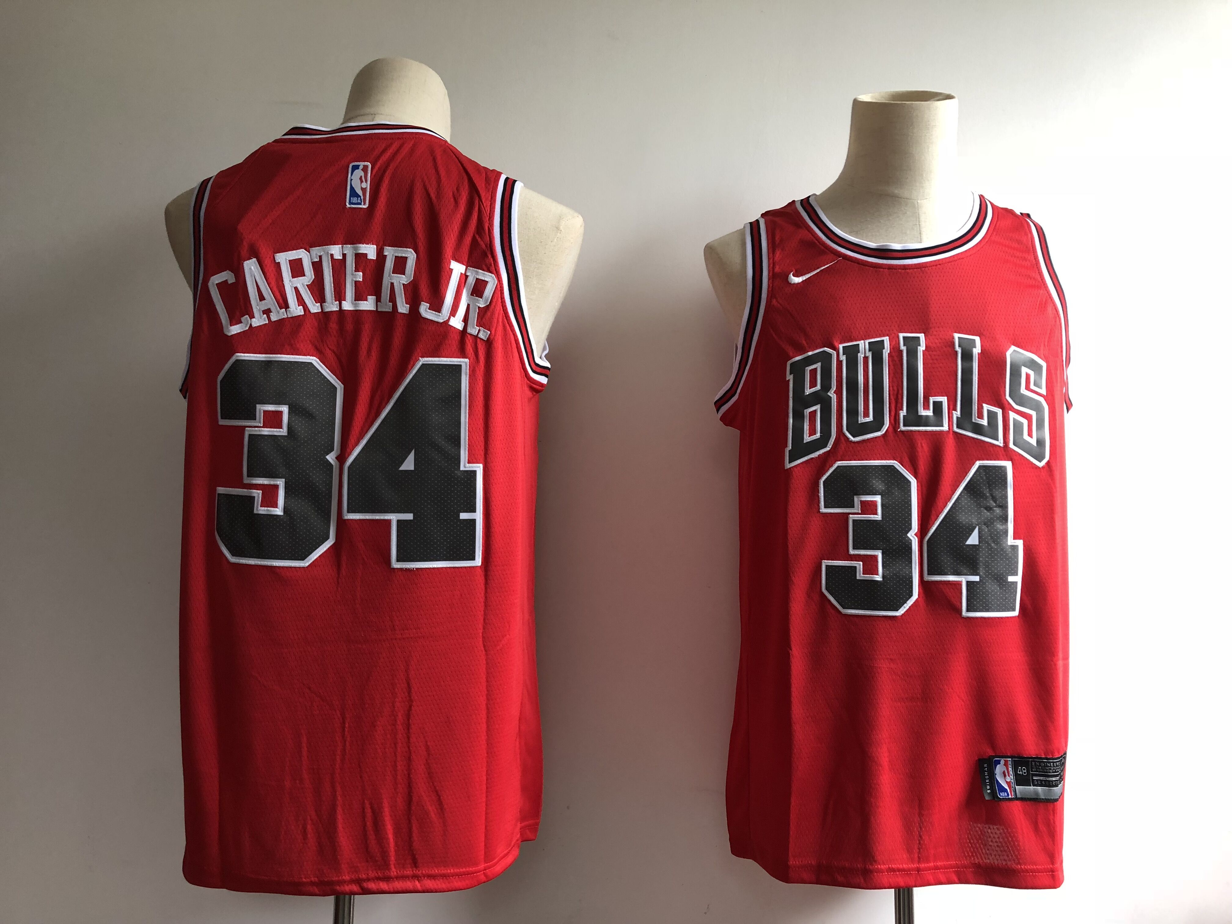 Men's Chicago Bulls #34 Wendell Carter Jr. Red Swingman Stitched NBA Jersey