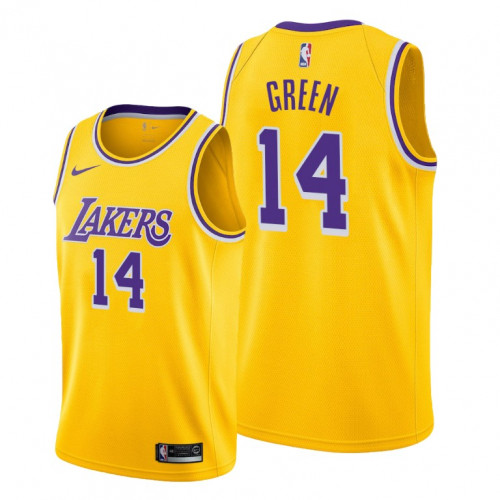 Men's Los Angeles Lakers #14 Danny Green Yellow Stitched NBA Jersey