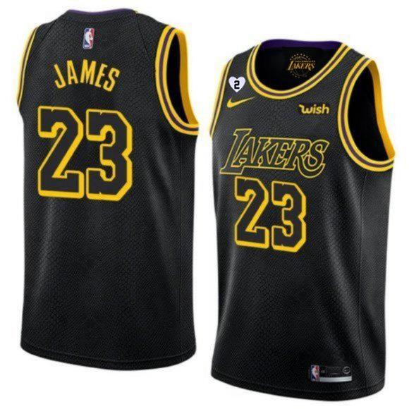 Men's Los Angeles Lakers Black #23 LeBron James With Gigi Patch ...