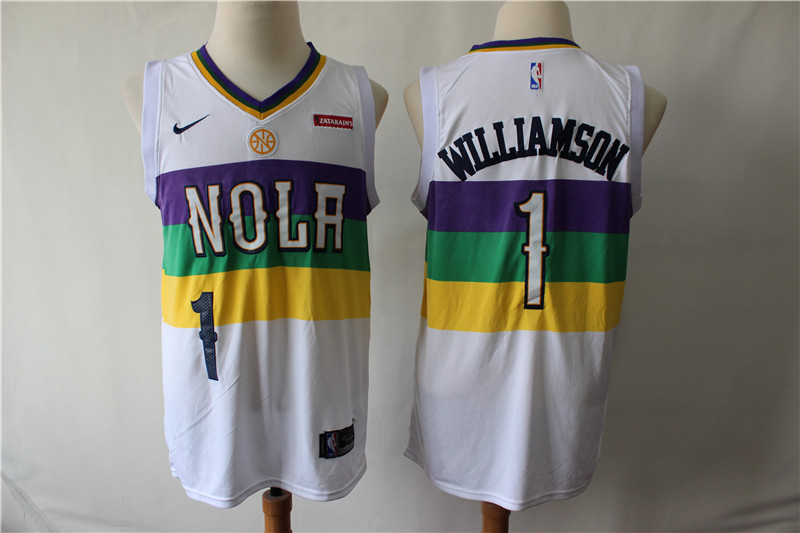 Men's New Orleans Pelicans #1 Zion Williamson White Earned Edition Swingman Stitched NBA Jersey