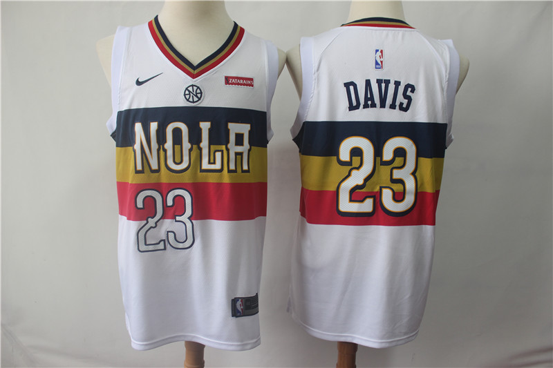 Men's New Orleans Pelicans #23 Anthony Davis White 2018/19 Earned Edition Swingman Stitched NBA Jersey