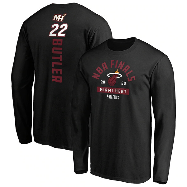 Men's Miami Heat #22 Jimmy Butler 2020 Black Finals Bound Name & Number Long Sleeve NBA T-Shirt