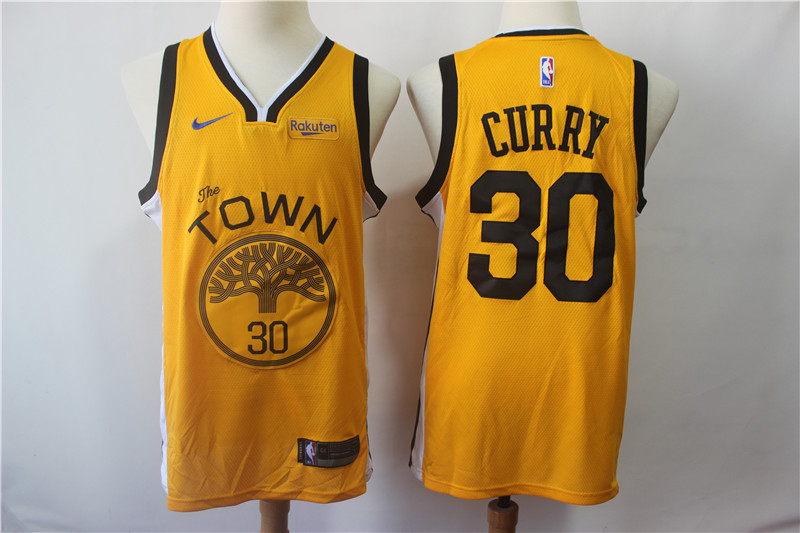 Men's Golden State Warriors #30 Stephen Curry Yellow 2018/19 Earned Edition Swingman Stitched NBA Jersey