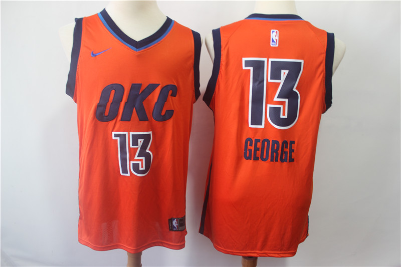 Men's Oklahoma City Thunder #13 Paul George Orange 2018/19 Earned Edition Swingman Stitched NBA Jersey