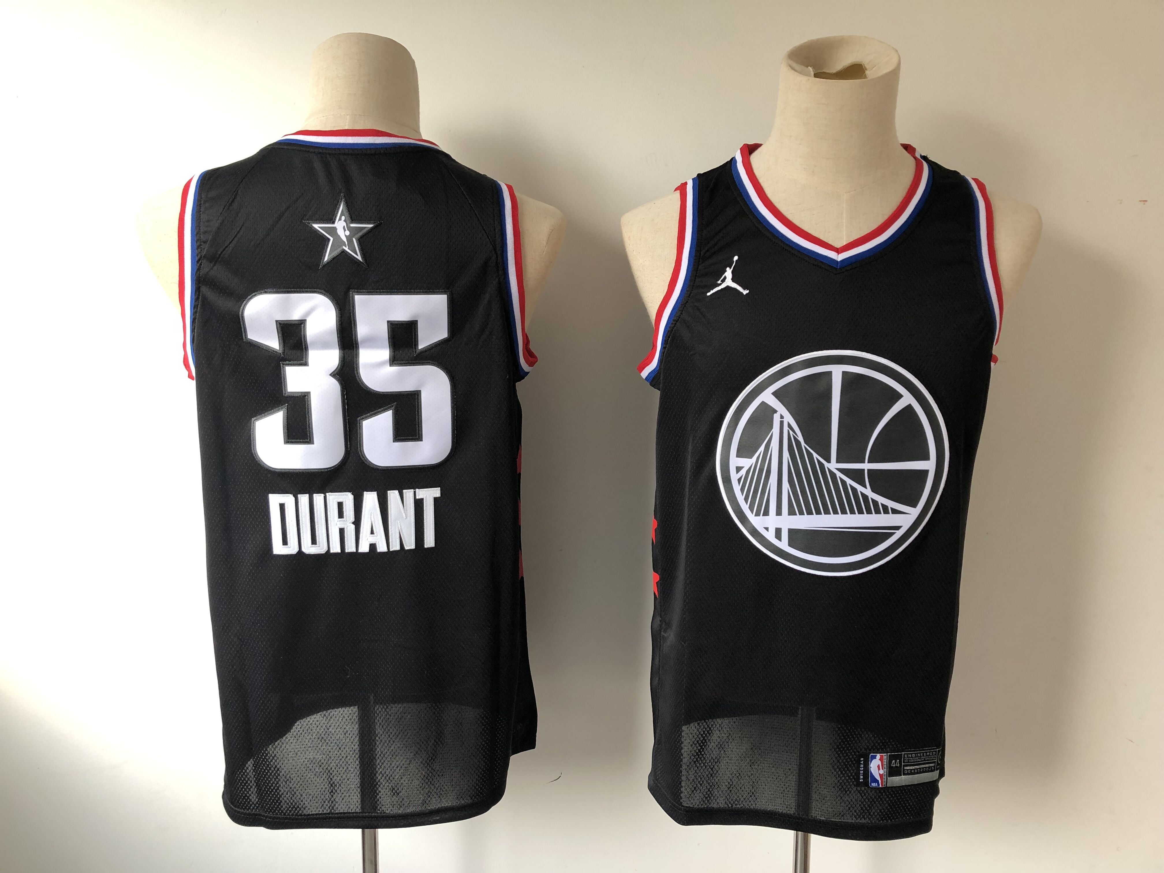 Men's Golden State Warriors #35 Kevin Durant Black 2019 All Star Stitched NBA Jersey