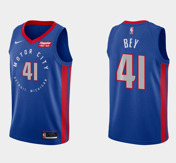 Men's Detroit Pistons #41 Saddiq Bey Navy Motor City Edition 2020-21 Stitched NBA Jersey