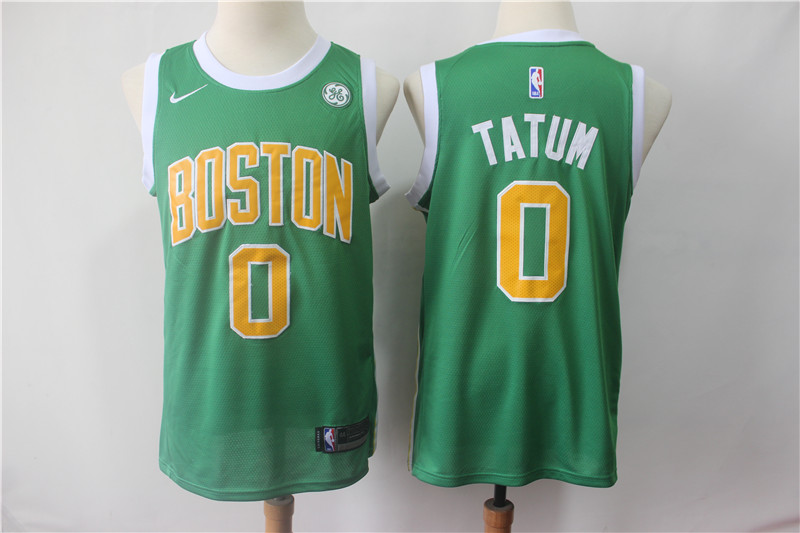 Men's Boston Celtics #0 Jayson Tatum Green 2018/19 Earned Edition Swingman Stitched NBA Jersey