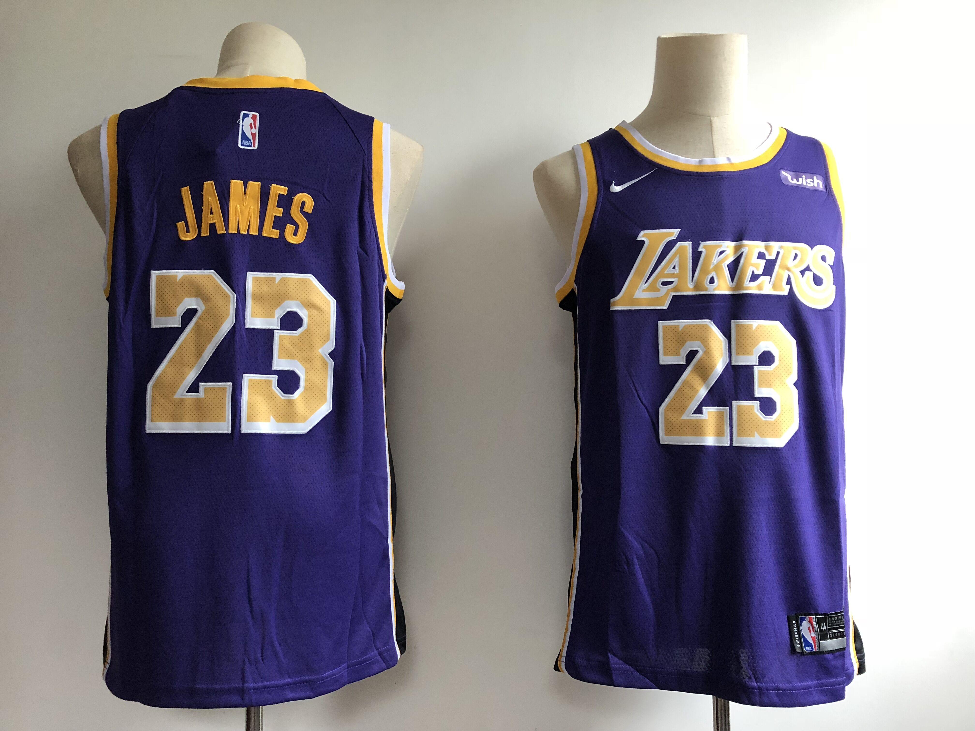 859dda8ee Men s Los Angeles Lakers  23 LeBron James Purple 2018 19 Statement Edition  Swingman Stitched